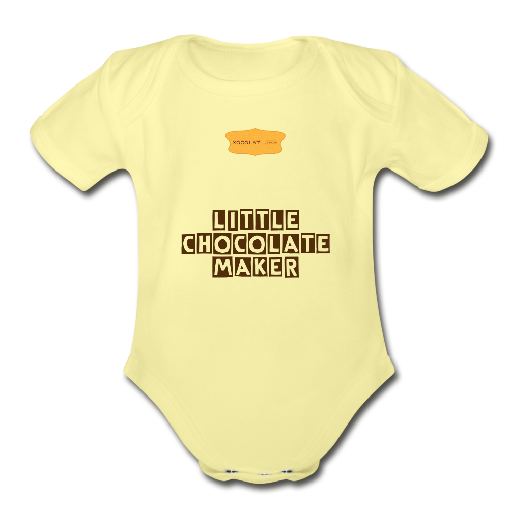 """Little Chocolate Maker"" Baby Bodysuit - washed yellow"