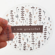 "Load image into Gallery viewer, Lovely Lavender 3"" Clear Gratitude Sticker - Maylay Co."