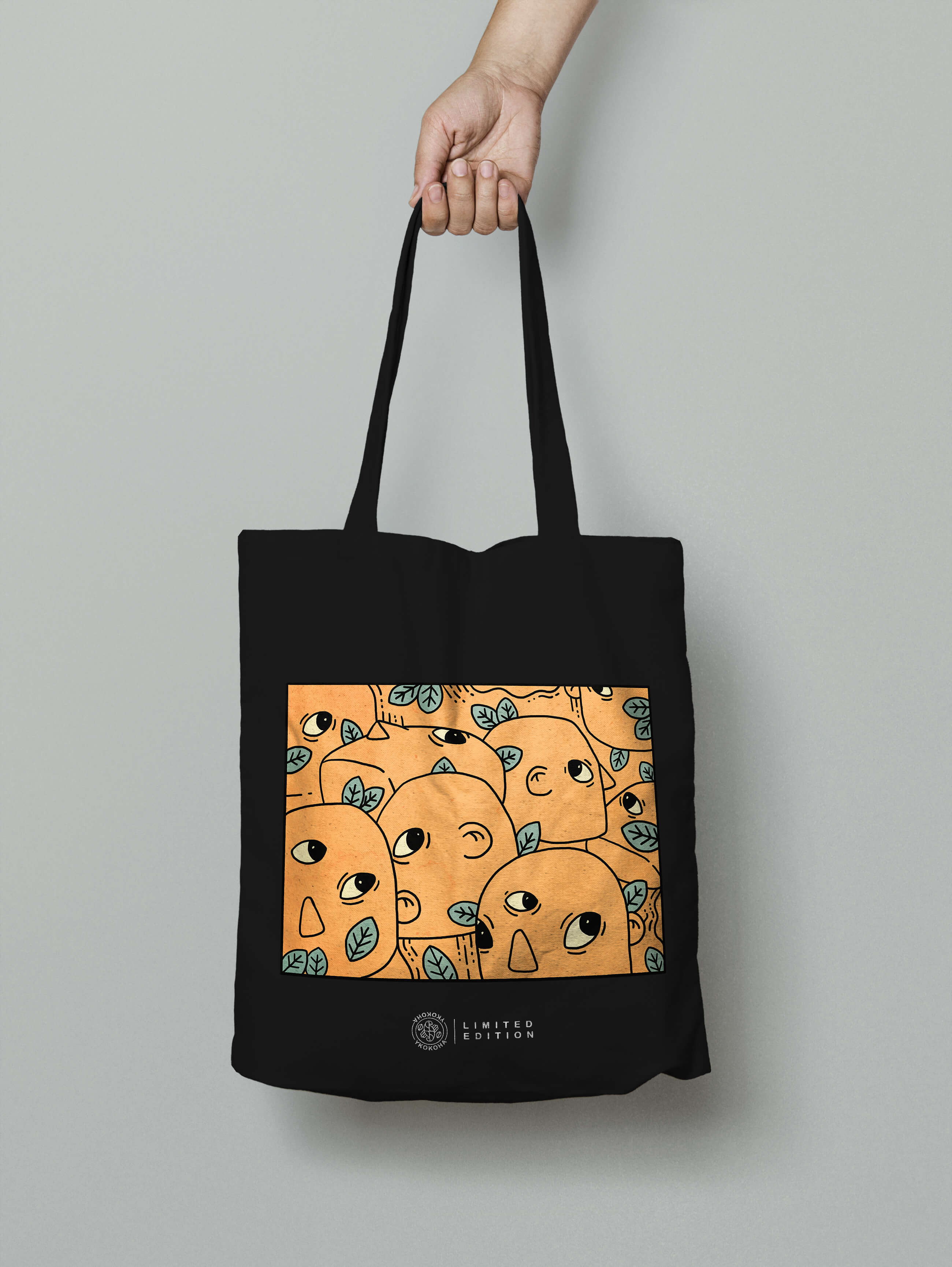 PEOPLE TOTE BAG -  BLACK - YKOKOHA