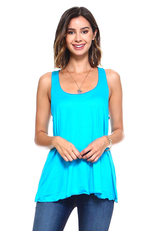 Turquoise Flowy Tank Top - Simplicitie - 1