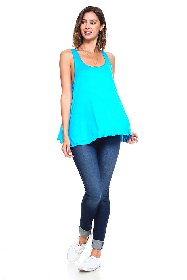 Turquoise Flowy Tank Top - Simplicitie - 2