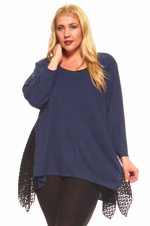 Navy Lace Hankerchief Tunic - Plus - 1