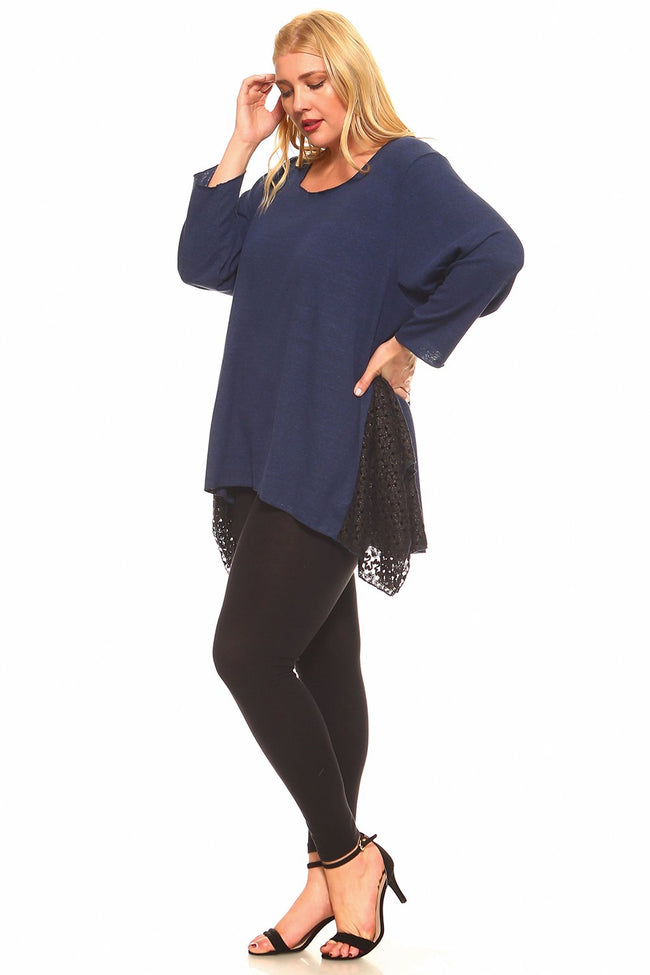 Navy Lace Hankerchief Tunic - Plus - 2
