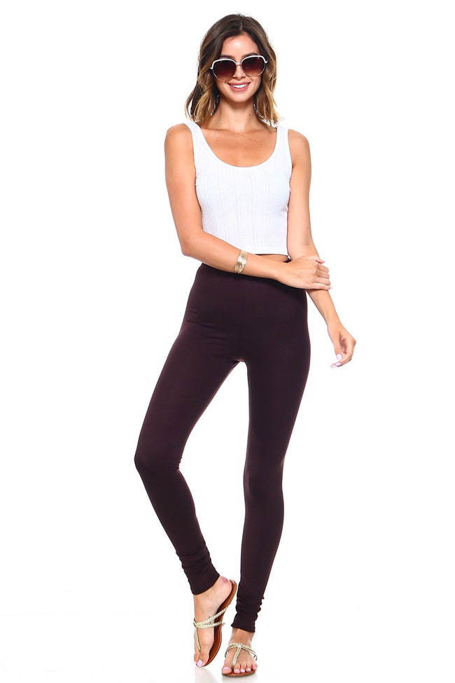 Brown High Waisted Leggings - Simplicitie - 2