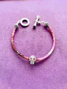 Depth of Life Ruby Skull Bracelet