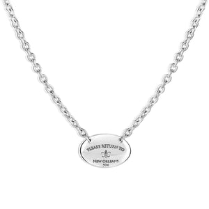 Please Return to New Orleans Oval Necklace - Large
