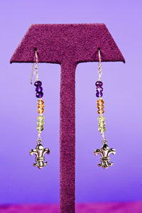 Mardi Gras Gemstone Fleur de Lis Earrings - Preorder