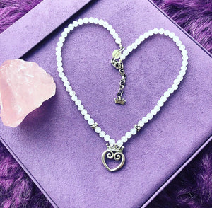 Self-Love Rosey Quartz MediumQueen of Hearts Necklace 18-20""