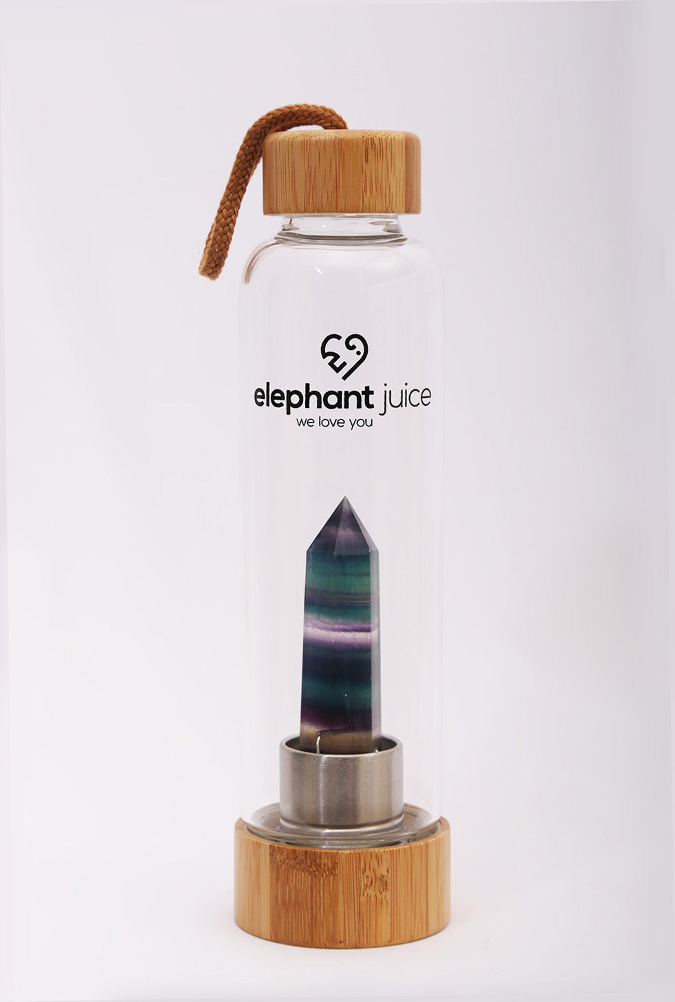 Rainbow Fluorite Crystal Infused Water Bottle