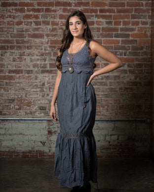 Monoreno Indigo Lace Trimmed Gown
