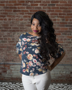Floral Tee with Bell Sleeves