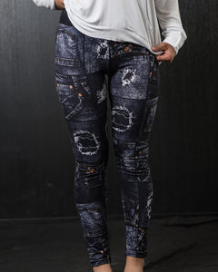 New Mix Distressed Denim Print Leggings