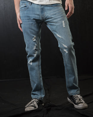 Hawks Bay Slim Light Distressed Denim