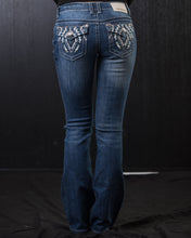 Load image into Gallery viewer, Denim Couture Tribal Pocket Purple Bedazzled