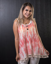 Load image into Gallery viewer, Fringe Detail Coral White Tank
