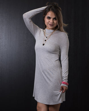 Zenana Long Sleeve Tunic Dress Grey
