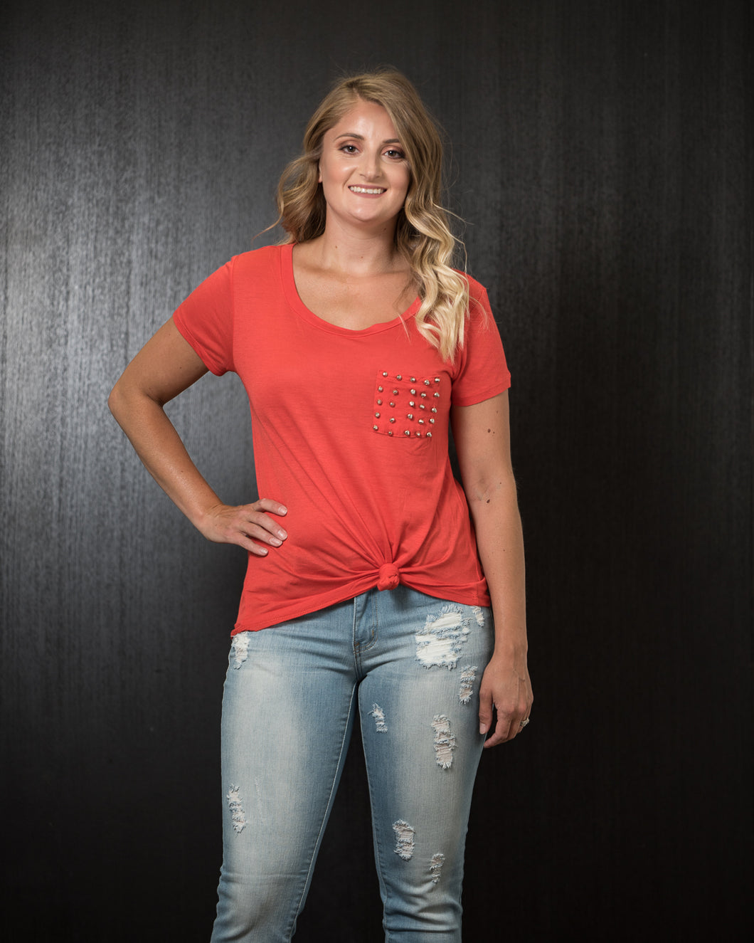 Bozzolo Studded Pocket Tee Orange (S-L).