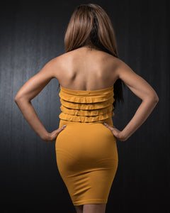 New Mix Seamless Ruffle Dress Mustard