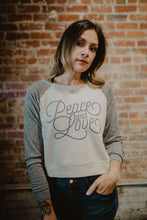 Load image into Gallery viewer, Vivilish Peace & Love Crop Sweater (Charcoal OR Pink)