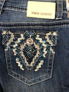 Denim Couture Tribal Pocket Purple Bedazzled