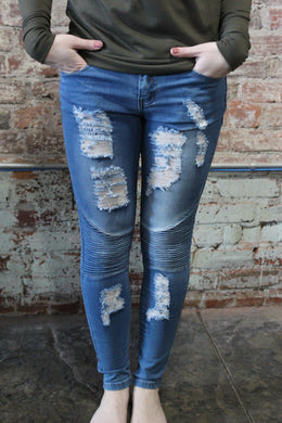 Denim Couture Skinny Jeans Medium Distressed Moto (Sizes 0-15)
