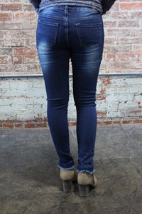 Denim Couture Classic Skinny Jeans Distressed Dark Blue
