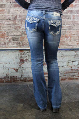 Denim Couture Medium Wash W/ Jeweled Pocket Button