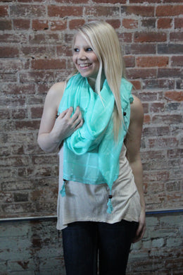 Mint Oblong Scarf W/ Beaded Tassles