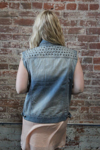Mono B Denim Wash Studded Vest