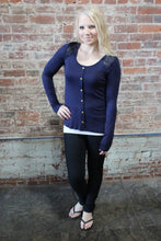 Load image into Gallery viewer, Zenana Long Sleeve Front Button Lace Back Navy