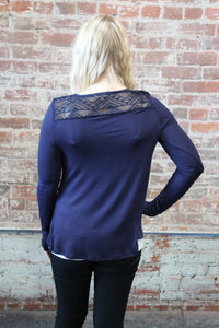 Zenana Long Sleeve Front Button Lace Back Navy
