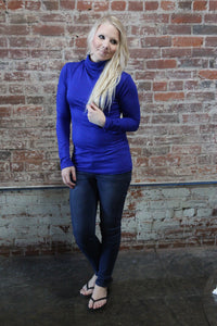 Zenana Turtle Neck Long Sleeve Royal Blue