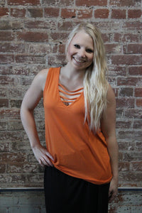 Zenana Sleeveless V-Neck W/ Strap Detail Orange