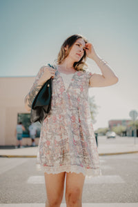 Entro Floral Tee Shirt Dress With Lace Hem & Neckline