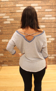 Blu Pepper Knit Top W/ Cross Straps