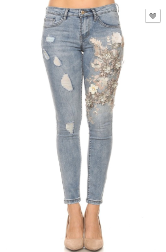 Denim Couture Red Women's Classic Skinny Jeans W/ Floral Embellishments (Sizes 0-15)