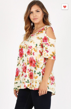Load image into Gallery viewer, Sweet Lindsey Plus Floral Blouse W/ Shoulder Cut Outs