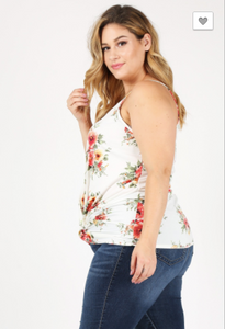 Sweet Lindsey Plus Floral Tank W/ Gathered Bottom