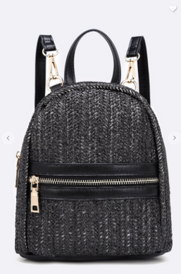 New Vibes Black Leather & Straw Backpack