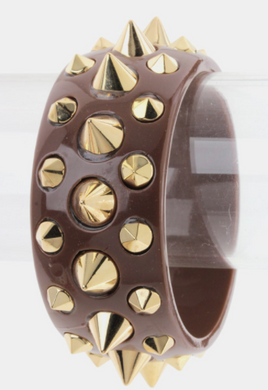 Brown & Gold Spiked Bangle Cuff