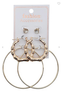 Three Pair Hoop Earring Set & faux Diamond Stud Set (Gold OR Silver)