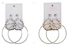 Load image into Gallery viewer, Three Pair Hoop Earring Set & faux Diamond Stud Set (Gold OR Silver)