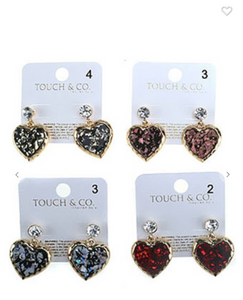 Touch & Co. Heart Drop Earrings (Available in Red, Gold, or Silver)