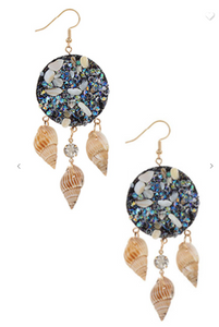 Sea Shell Dangle Earrings (Available in Teal, Red, & Pearl)