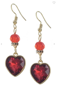 Fashion Jewelry Heart Dangle Earrings W/ Glass Bead