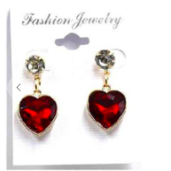 Fashion Jewelry Heart Dangle Earrings W/ Diamond Stud