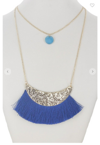 Two Layer Stone & Tassel Necklace Set W/ Faux Diamond Stud Earrings (Available in Six Colors)