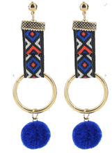 Load image into Gallery viewer, Fashion Jewelry Tribal Dangle Earrings W/ Fur Balls (Available in 6 fun colors!)