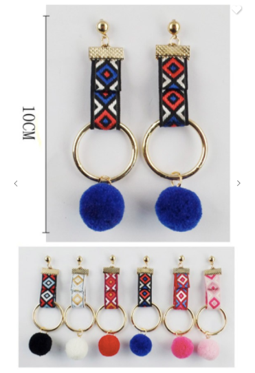 Fashion Jewelry Tribal Dangle Earrings W/ Fur Balls (Available in 6 fun colors!)