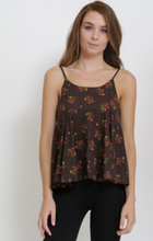Load image into Gallery viewer, French Kiss Wrap Around Tank Top W/ Tie Back Floral Brown (Available in Sizes S-L)